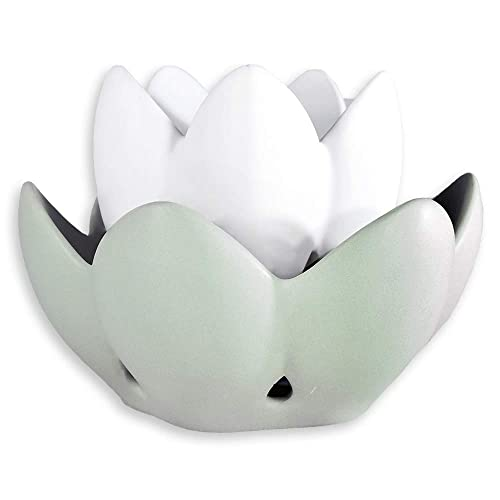 Profuma Ambienti Profumatore Ninfea Tiffany in Ceramica Diffusore di Oli Essenziali e di Aromi Brucia Essenze con Candela (Tea Light + Profumo + Gift Box Inclusi)