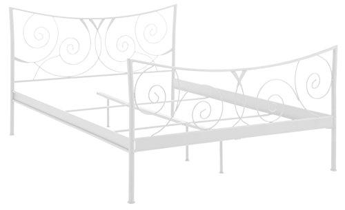 Loft24 Rose Bett Gästebett Doppelbett Metallbett Bettrahmen Jugendbett Kinderbett Kinderzimmer Gästezimmer Schlafzimmer (cremeweiß, 180 x 200 cm)