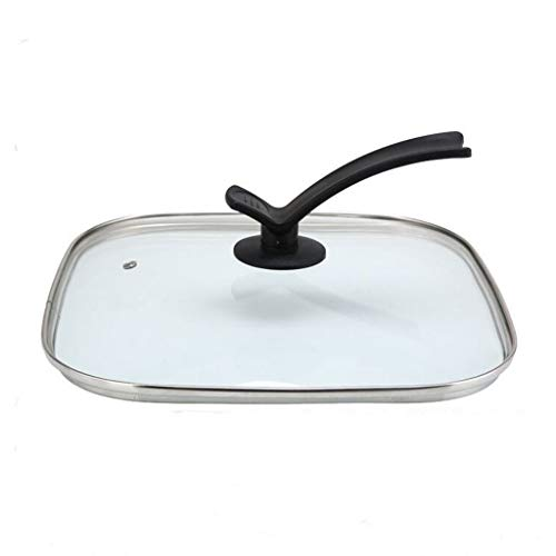 Xu Yuan Jia-Shop Topfdeckel Wok-Abdeckung Platz Glas Deckel, Klarglas Lid12-Zoll / 30 cm, Geeignet for Hot Pot Bratpfanne Steak Pot Universaldeckel