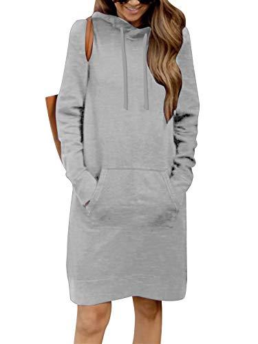 Kidsform Hoodie Damen Sweatshirt Kapuzenpullover Pulli Kleid Pullover Herbst Sweatjacke mit Tasche 3-Dunkelgrau M