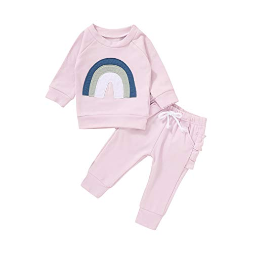 Infant Baby Girls Outfits Rainbow Print Long Sleeve Pullover T-Shirt Tops + Ruffle Pant Clothes Set (Pink Purple, 2-3 T)
