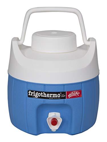 frigothermo Kühlbox mit Zapfhahn Wasserspender 5 Liter klein rund blau weiß passiv Kunststoff mit Becher Tragegriff Schraubdeckel bis 12 Stunden Kühlung Thermo-Behälter Getränkespender Wasserbehälter
