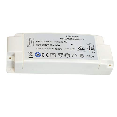 LED transformator 36W 3A für MR16 GU5.3 MR11 LED lampen, AC240V zu DC12V LED Driver, 1er Pack, Aiwode.
