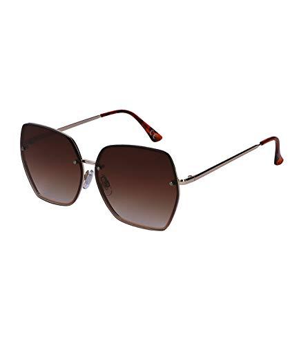 SIX Große Sonnenbrille schmaler Rahmen braune Gläser, Linsen-Kategorie: 3; Dunkle Gläser, UV400-Filter (326-327)
