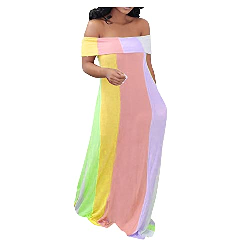 Dasongff Sommerkleid Damen Lang Off Shoulder Maxikleider für Damen Lose Kleid Strandmode One Shoulder Cocktailkleid Lose Club Party Strandkleid...