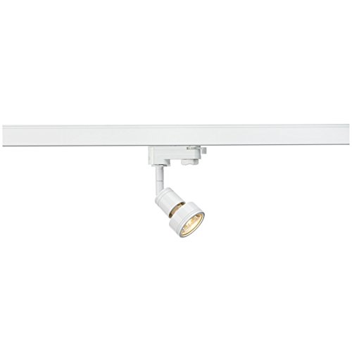 SLV LED Schienen-Strahler PURI | Dreh- und schwenkbarer 3-Phasen-Strahler, LED Spot, Deckenstrahler, Deckenleuchte, Schienensystem, Innenbeleuchtung, 3P-Lampe | GU10 QPAR51, weiß, max. EEK A-A++