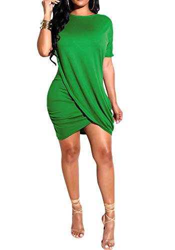 LKOUS Women's Irregular Hem T Shirt Dress, Sexy Casual Mini Dresses,Night Out Outfit for Cocktail