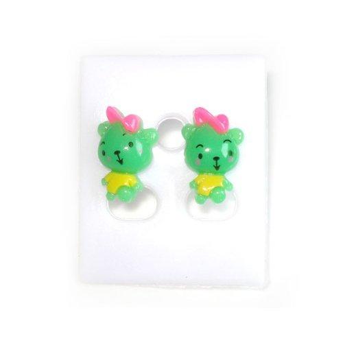 Idin Kinder Ohrstecker - Grüne Bären mit rosa Kappe