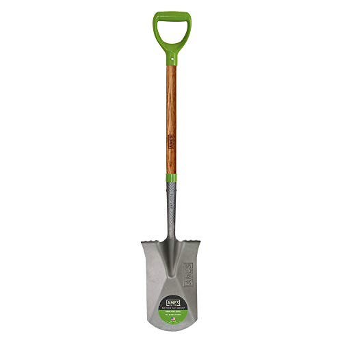 AMES 2593800 Tempered Steel Garden Spade with Hardwood Handle and D-Grip, 43-Inch