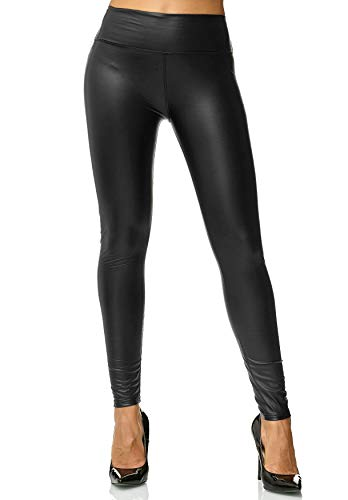 ArizonaShopping Damen Leggings Metallic Leder Optik High Waist Stretch Hose Wet Look D2564, Farben:Schwarz, Größe:XL/XXL