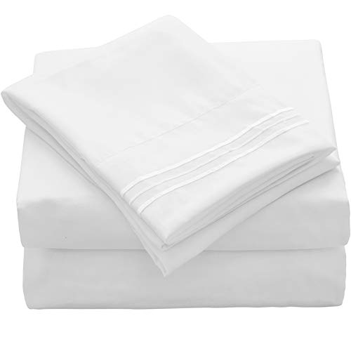 VEEYOO King Size Bed Sheet - White Fitted Sheets Set Deep Pocket, Luxury 1800 Brushed Microfiber Bed Set Extra Soft, Wrinkle, Fade, Stain Resistant, Breathable, Hypoallergenic - 4 Piece, White