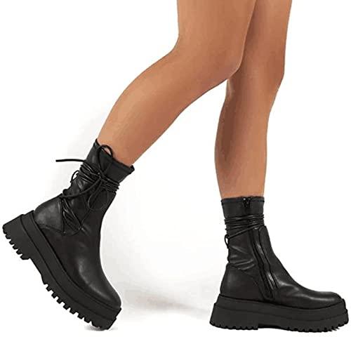ZXCN Nouvelle Marque Femelle Plateforme Bottines Bottines Chunk Punk Combat Bottes pour Femmes Cool Stylish Chaussures d'automne Femme