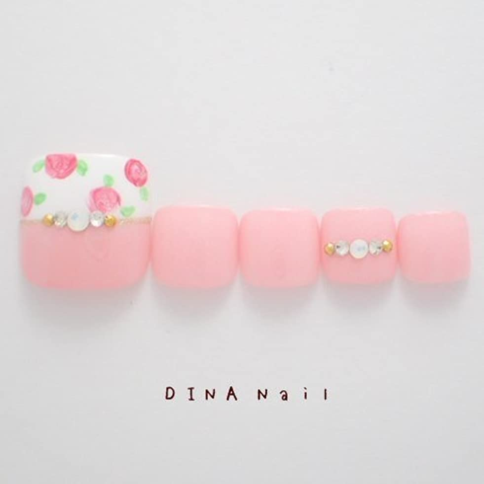 防腐剤花免疫するDINAネイル ピンク薔薇柄ハーフカットデザイン ペディキュアM(14567番) ネイルチップ