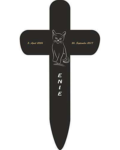 Livingstyle & Wanddesign Personalisiertes Grabkreuz fürs Haustier, Katze Silhouette 2 in Schwarz, klein 25 x 13,5 cm