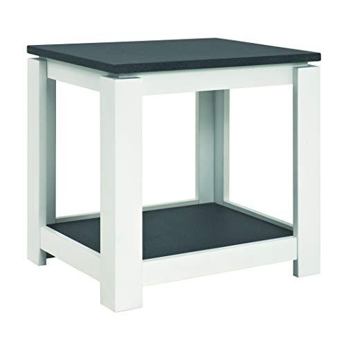 Haku-Möbel 42579 Beistelltisch, Holzwerkstoff, granitoptik-weiß, 50 x 40 x 50 cm