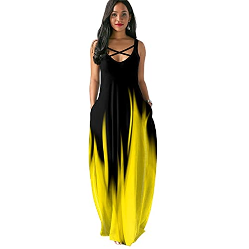女性マキシドレス、セクシーなVネックノースリーブ印刷染色ドレス、カジュアルな緩い夏のボヘミアンドレス,イエロー,S