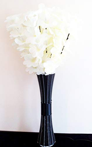 Homestreet Grandes fleurs lumineuses avec éclairage LED et fibre optique dans un haut vase en osier.