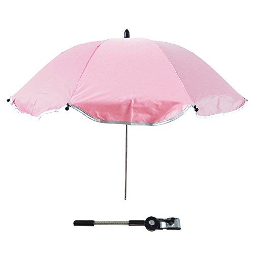 Gosear Sombrilla Silla Paseo Universal, Cochecito Paraguas sombrilla Parasol para Sillita de bebé protección UV, 360 Grados de dirección Ajustable (Rosado)