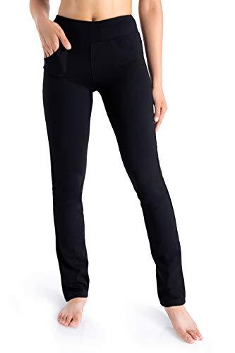 "Yogipace, 5 Pockets, Petite Women's Straight Leg Yoga Pants Long Stretch Dress Pants Slim fit Workout Pants Travel Commute Work, 27"", Black, L"