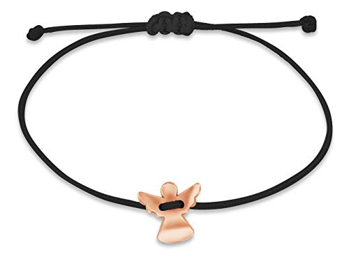 Nuoli® Schutzengel Armband Damen Rosegold (verstellbar bis 20cm) Engel Armbändchen für Frauen & Mädchen, aus schwarzem Stoff mit Metall Anhänger