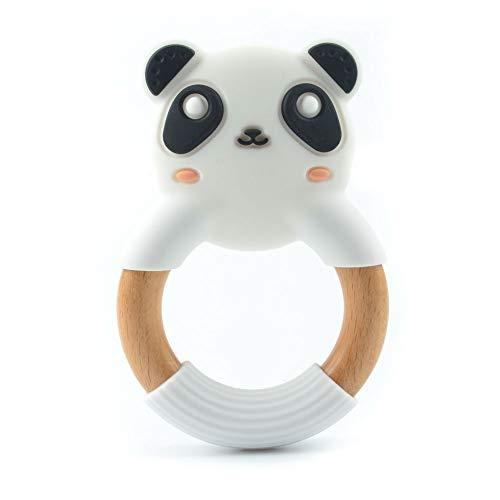 Zintuiglijke bijtring babyspeelgoed - Zacht en natuurlijk antibacterieel siliconen - Beste voor pijnlijke tandvlees Pijnstilling, BPA-vrij, buigzaam, getextureerd, vriezer veilig - Houten ring