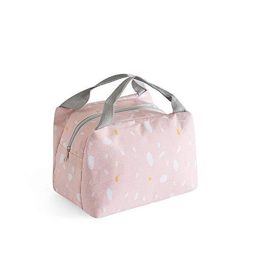 Faltbare isolierte Tasche,Runde Hand tragen Lunchpaket, Dicke Aluminiumfolie Isolierbox-Pink,Ungiftige Lunch Bag