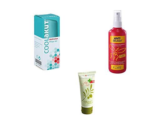 Anti-Mücken Sparset Kombiset - Anti Brumm Forte Spray 75 ml & CoolAkut Stich & Sun Pflege-Gel 30 ml Inkl. GRATIS Rats-Apotheke Olivenöl Pflegecreme