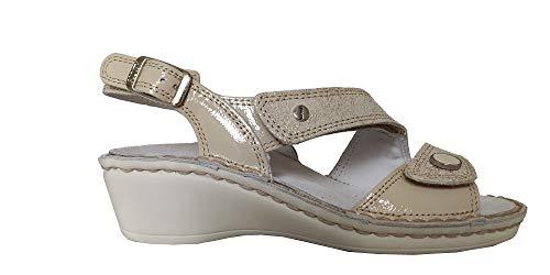 Hergos H1552A Sandalo Donna Panna Plantare Estraibile Chiusura a Velcro (38)