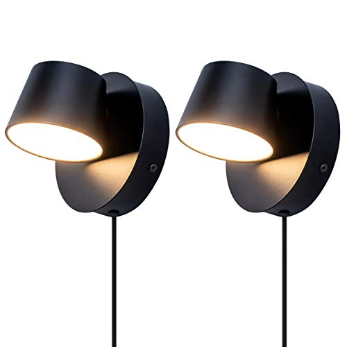 VILUXY Modern LED Bedside Wall Sconce Plug-in Cord with Switch Lighting Fixture 350 Rotation...