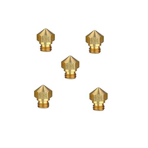 Brass MK10 Extruder Nozzle 0.4mm M7 Thread for Flashforge/Wanhao/Dremel/Makerbot V2/PowerSpec/Cocoon 3D Printer 1.75mm Filament (5 Pack)