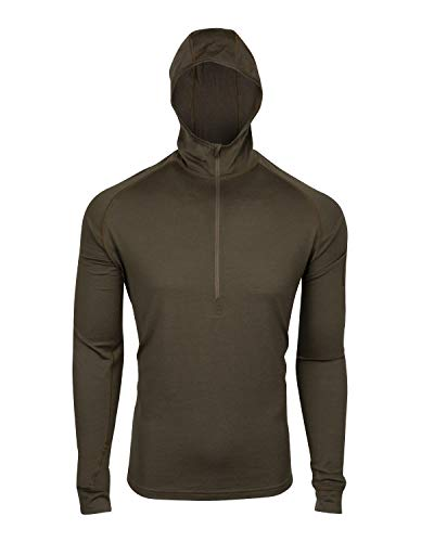7EVEN Clothing CO Mens 100% Lightweight Merino Wool Hooded Long Sleeve Shirt 190 GSM (Large) Brown