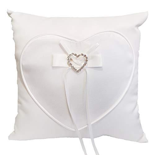 Ringkissen Herzen für die Hochzeit Weiß, Kissen für Trauringe, mit Herz aus Strass quadratisch, 19,5 x 19,5 cm
