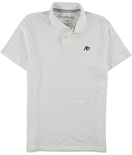 AEROPOSTALE Mens A87 Uniform Rugby Polo Shirt, White, XX-Large