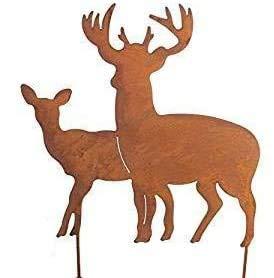 Bornhöft Gartenstecker Hirsch Hirschgruppe Sterne aus Edelrost Metall Rost Gartendekoration Weihnachten rostige Gartendekoration (Hirschpaar)