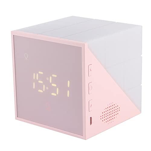 Reloj de repetición, desarrolla buenos hábitos, calibración exacta de la alarma, lámpara de noche infantil, luz suave con control por voz, reloj para interiores para dormitorio (rosa)
