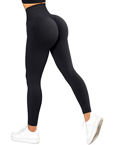 SUUKSESS Scrunch Butt Lifting Seamless Leggings for Women Booty High Waisted Workout Yoga Pants (Black, S)