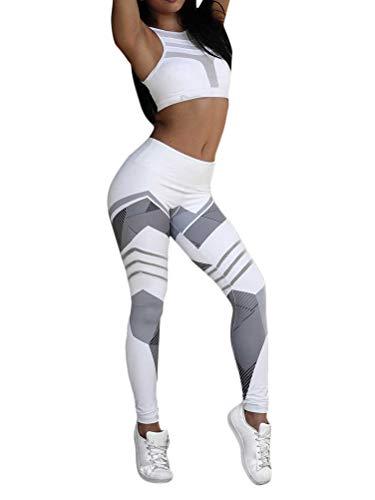 ORANDESIGNE Damen 2 Stücke Set Outfit Sport Sportanzug aus Push Up Sport BH Racerback und Yoga Leggings Set Slim Fit Traininganzug B Weiß S