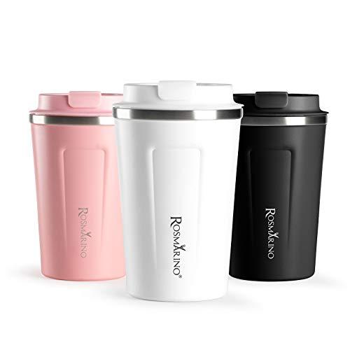 ROSMARINO Reise-Kaffeebecher - Tragbare Vakuumisolierte, Doppelwandige Thermobecher To Go - Wiederverwendbare Trinkbecher aus Edelstahl - 7x9 x 13 cm I Weiß, 350 ml