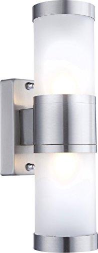 Applique acier affiné, satiné, IP44, LxH:110x235, incl. 2xG9 33W 230V