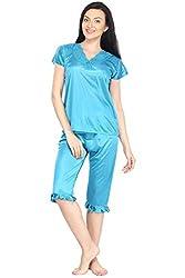Noty Womens Satin 2 Pcs Night Suit/Night Wear - Top with Capri