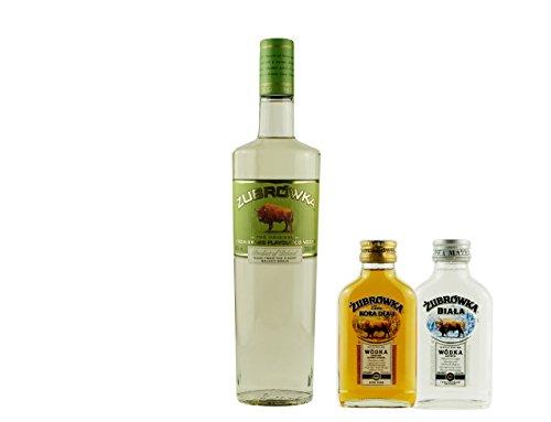 Geschenkset Żubrówka Bison Grass | Polnischer Wodka | 1 x 0,7 Liter, 2 x 0,1 Liter