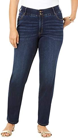 Roamans Women s Plus Size The Straight Leg Curvy Jean Made in USA Stretch Denim 22 W Dark Wash product image