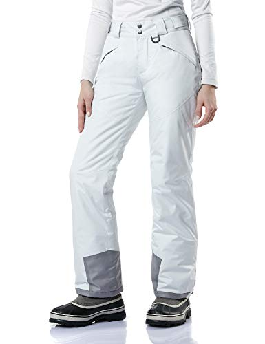 TSLA Women's Winter Snow Pants, Waterproof Insulated Ski Pants, Ripstop Snowboard Bottoms, Snow Pants(xkb90) - White, Medium Delaware