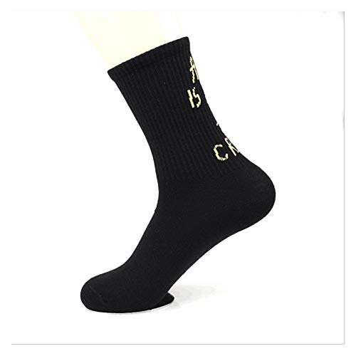 FUBINMY Socken Socken von 3 Paaren Casual Brief Druck Aktien Mode Skateboard Baumwollsocken Sport Freizeit Herren Socken (Color : Black, Size : One Size)