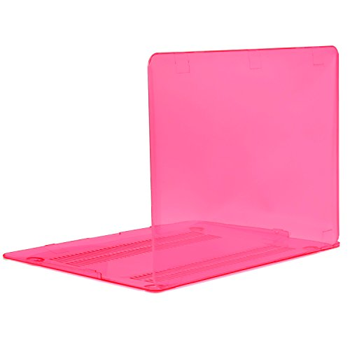 """TOP CASE - Crystal See Thru Hard Case Compatible Older Generation MacBook Air 13"""" Model: A1369 and A1466 (Release 2010-2017) - Hot Pink"""