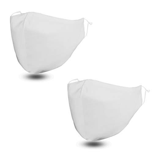 FLOWZOOM 2 Stk. Stoff-Masken | Mund und Nasenschutz | Mundschutz waschbar mit verstellbaren Gummibänder | Innen Baumwolle, außen Polyester | Mit Filterfach