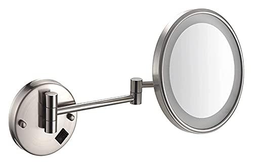 HEG Espejo de Maquillaje con luz, Montaje en Pared 3 x Espejo de tocador de magnificación, Espejo cosmético Recargable de un Solo Lado Espejos de Mano (Color : A)