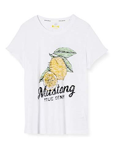 MUSTANG Damen Alina C Print T-Shirt, Weiß (Weiß 2045), X-Large (Herstellergröße: XL)