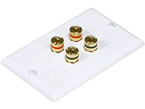 iMBAPrice Premium Banana Wall Plate - 4 Coupler Type Connectors Banana Plug Binding Post Wall Plate for 2 Speakers