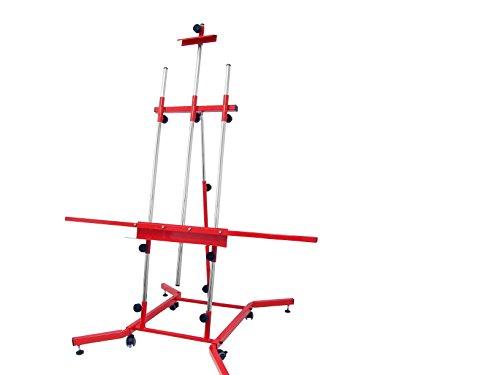 sonpó online–Modello Goya XL–Cavalletto per pittura professionale per pittura quadri–Struttura di acciaio ad alta resistenza con finiture in colore: rosso–Quadri fino a 3metri